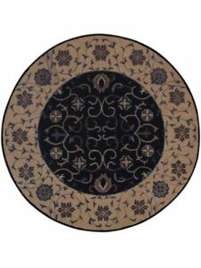 Hand-Tufted-All-Over-Navy-Blue-Oushak-Oriental-Hand-Tufted-8-039-Round-Wool-Rug