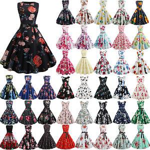Women-Sleeveless-Floral-Vintage-50s-Rockabilly-Swing-Dress-Summer-Evening-Party