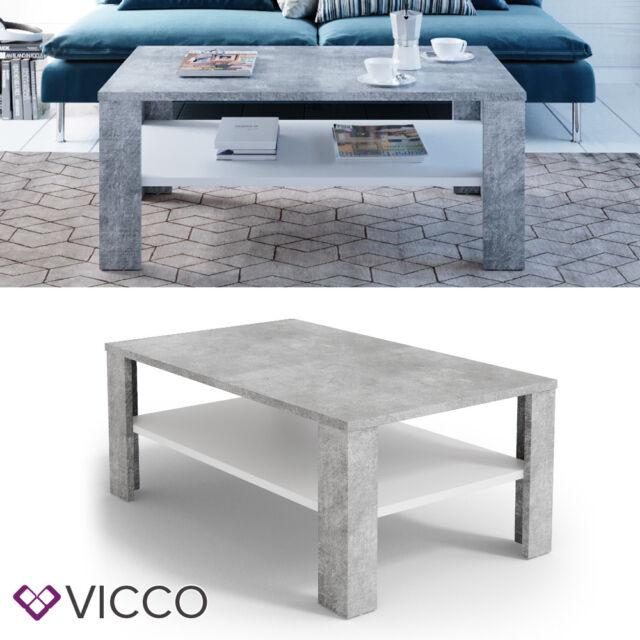 Vicco Couchtisch Beton Optik Weiß Wohnzimmertisch Beistelltisch