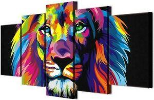 Tableau-Mural-Lion-Polychrome-Polyptyque-Impression-Sur-Toile-Deco-Salon-Chambre