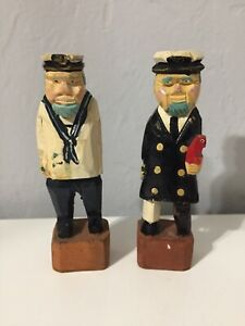 2-Vintage-Carved-Nautical-6-IN-Wooden-Folk-Art-Sea-Captain-Sailer-Figures
