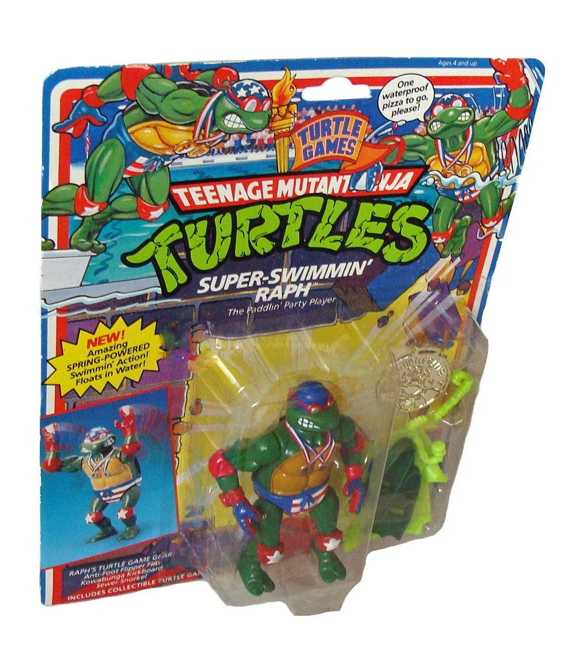Teenage Mutant Ninja Turtles - Super Swimmin Raph 11 cm Figur Playmates 4+ - Neu