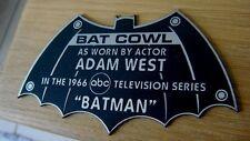 CUSTOM 1966 BAT COWL DISPLAY NAME PLATE BATMAN TV SERIES