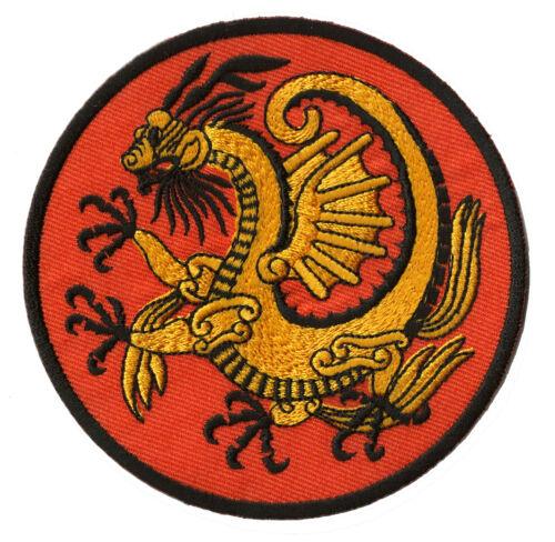 Patch écusson brodé patche transfert Golden Dragon thermocollant medieval
