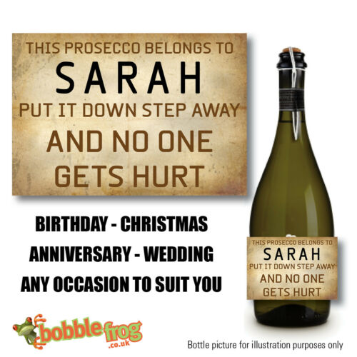 FUNNY HUMOUR PERSONALISED NAME PROSECCO BOTTLE LABEL CHRISTMAS VINTAGE RETRO B32