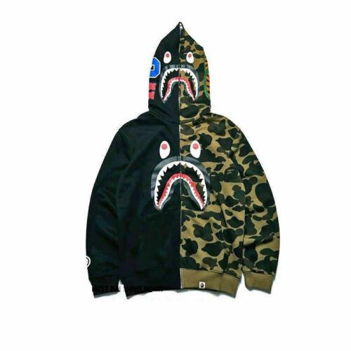Bape Bathing ape Jacket SHARK Head Camo FULL ZIP HOODIE Long Sleeve Clothes!!