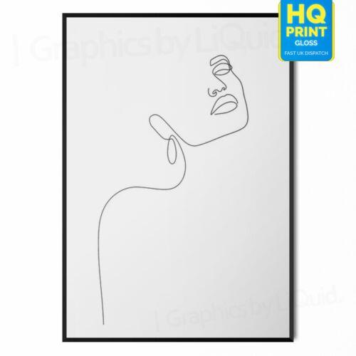 Abstrait Femme Visage Dessin Chambre Mur Art Moderne Imprimé Chic Home Decor