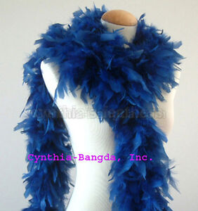 White 65 Grams Chandelle Feather Boa   Party Halloween Costume Royal Blue