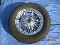 """MG   MGB GT ROADSTER CHROME 14'' WIRE WHEEL &  165 X 14 """" TYRE   ***"""
