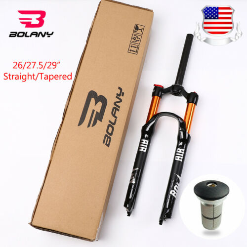 """BOLANY Suspension Forks MTB Mountain Bike Straight//Tapered Tube 1-1//8/"""" Air Fork"""