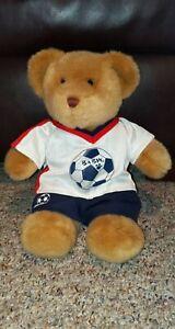 Build-A-Bear-Workshop-Tan-Teddy-Bear-Stuffed-Plush-Animal-Toy-15-034-Soccer-Outfit