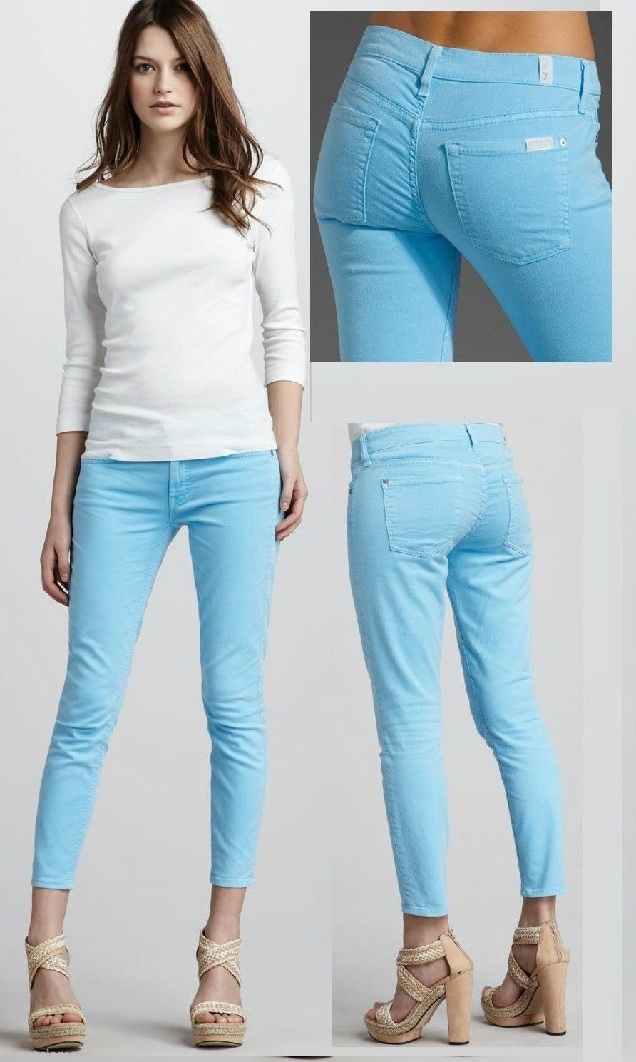 169 7 For All Mankind Cropped Skinny Neon bluee colord Jeans