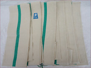 6 Unused French Cotton Linen Green Striped Towels Kitchen Cloths