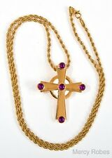 """NEW Gold Plated PECTORAL CROSS (SUBS779 G-P) w/ 40"""" Chain, Purple Stones, Clergy"""