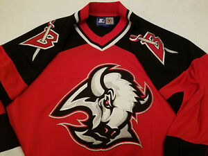Buffalo-Sabres-jersey-Mens-Large-Starter-red-L-buffalo-head-goat-head-nhl-rare
