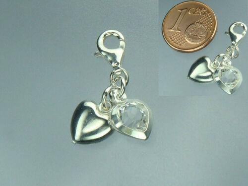 WEIß Stein Doppel Herz 925 Sterling Silber Einhänger Charm mit 2 Herzen