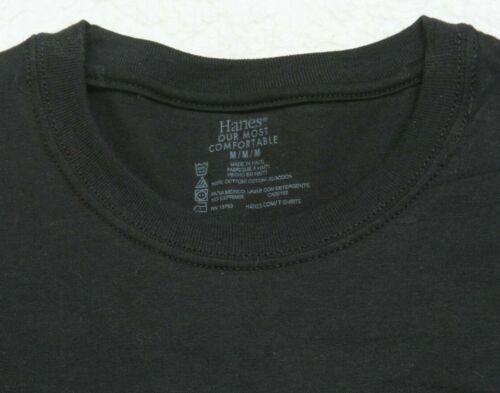 New Black Tee T-Shirt Hanes Cotton Crewneck Men/'s Man/'s Solid Size Medium Top