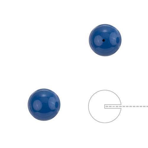 H74//2 Swarovski 8mm redonda con cuentas de Media Perforado Perlas Lapislázuli Azul Paquete de 2