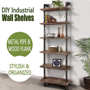 "Industrial 6 Shelf Wall Shelves Iron Pipe Wood Vintage Bookcase Home/Office Diy by ""Handmade"""