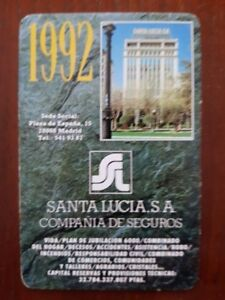 Santa Lucia Calendario.Detalles De Calendario Seguros Santa Lucia 1992 Heraclio Fournier