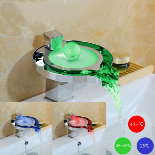 LED Bathroom Basin Vessel Sink Vanity Waterfall Mixer Faucet Brass1 Hole Taps