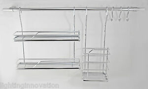 Beau Image Is Loading KITCHEN RAIL WALL MOUNTED HANGING RAILING SYSTEM CHROME