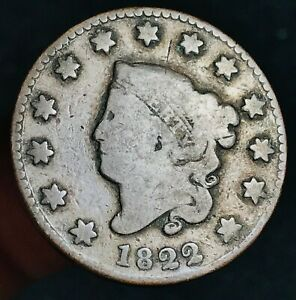 1822 Large Cent Coronet Head 1C Higher Grade Good Date US Copper Coin CC5688