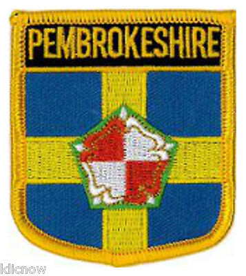 "Pembrokeshire County (Shield) Embroidered Patch 6CM X 7CM (2 1/2"" X 2 3/4"")"