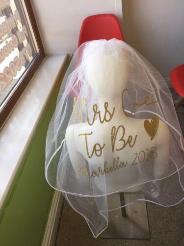 Personalised Veil Hen Party Glitter Date Destination Heart NEW Stunning Print