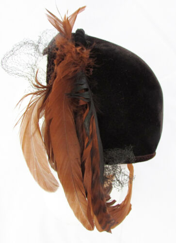 Brown velvet feather accent vintage hat asymmetric