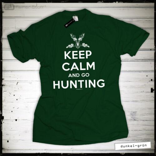 Jäger T-Shirt Geschenk Keep calm hunting Jagd Fun Revier Hirsch Wildschwein Wild