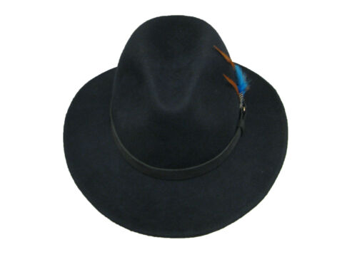 Gents Ranger 100/% Wool Waterproof Navy Felt Fedora Trilby Hat With Leather Band