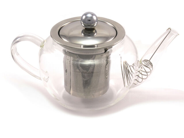 HIGH QUALITY GLASS TEAPOT WITH INFUSER COIL FILTER AND METAL LID 600ML