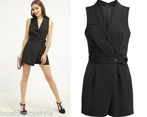759c25fb06 MISS SELFRIDGES PETITE UTILITY D-RING BLACK PLAYSUIT SIZES 4-6-8-10 ...