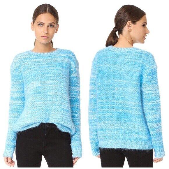 NWT  Diane Von Furstenberg Marl Angora Wool Sweater bluee cerulean ivory