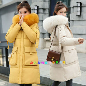 Ladies-Long-Parka-Bubble-Jacket-Down-Cotton-Women-Coat-Padded-Hooded-Fur-Quilted