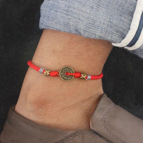 Copper Bracelets de cheville en cuir Rouge Corde Homme étudiant National Lucky symbole Accessoires