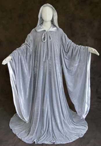 Grey Velvet Robe Wizard Cloak Wicca LOTR LARP Gandalf Hobbit Cosplay Costume GOT