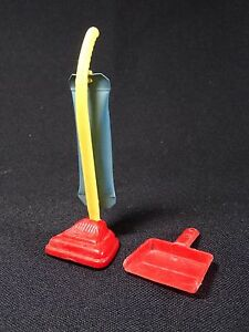 Vintage Renwal Dollhouse Red and Blue Upright Vacuum No. 37 w/Dustpan