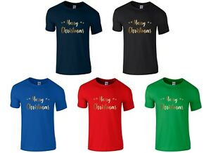 MERRY-CHRISTMAS-Boys-T-Shirt-3-14-yrs-Funny-Printed-Xmas-Novelty-Gold-Top