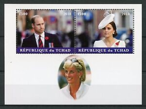 Chad-2018-CTO-Principe-William-amp-Kate-Princesa-Diana-2v-m-s-sellos-de-regalias