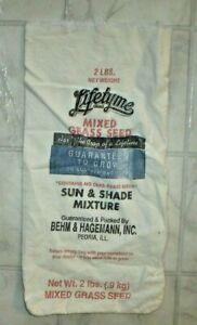 Vintage-Behm-amp-Hagemann-Lifetyme-Grass-Seed-2-LB-Cloth-Sack-Peoria-Illinois-C2