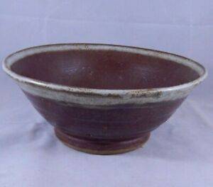 Vintage-Hand-Thrown-Art-Pottery-Brown-Red-7-034-Bowl-Dish-Signed-Lisa