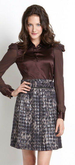 2b RYCH  Metallic Houndstooth Pleated Designer Skirt 2bRYCH NWT 6-8-10