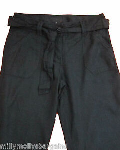 New-Womens-Black-Linen-NEXT-Crop-Trousers-Size-10-8-6-Tall-Petite