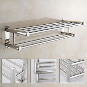 Image Is Loading Stainless Steel Wall Mounted Towel Rack Hanger Bathroom