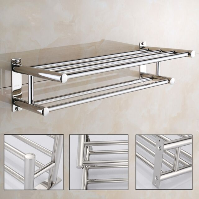 stainless steel wall mounted towel rack bathroom hotel holder storage shelf home ebay. Black Bedroom Furniture Sets. Home Design Ideas