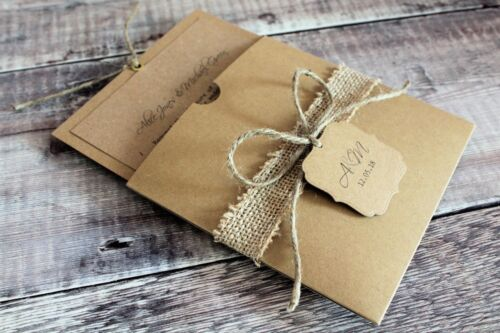 twine burlap Personalised Kraft pocket wallet wedding invitation recycled card