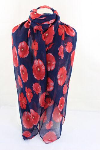 Scarves Beautifull Poppy Flower Print Maxi Shawl Beach Wrap//Sarong Hijab Navy**