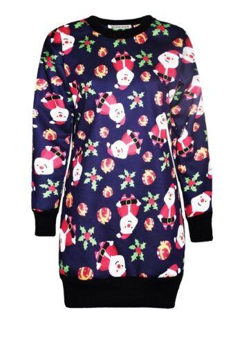 New Ladies Xmas Tree Santa Fleece Knitwear Christmas Long Jumper Shift Dress